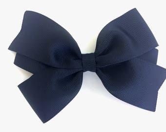 5 inch black hair bow - 5 inch black bow, 5 inch bow, large black bow, girls hair bows, black hair bows, girls bows, toddler bows, hair clip