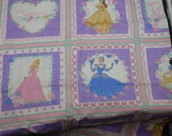 Disney Princesses Cotton Fabric, Cinderella, Aurora, Belle, Snow White, Disney Blocks, Quilting Fabric