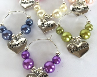 Wedding Wine Charms, Wedding Favours, Wedding Table Decor, Wedding Wine Glass Charms UK,  Wedding Charms, Champagne Glass Decorations