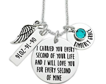 I Carried You Every Second Of Your Life - Miscarriage Remembrance - Engraved Jewelry - Miscarriage Necklace - Infant Loss Jewelry - 1127