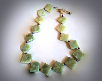diamond shaped green serpentine stone necklace chunky funky necklace statement gemstone necklace purple and green jewelry beaded necklace