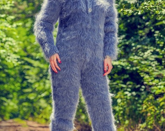 Hand knitted blue mohair bodysuit fuzzy catsuit warm Handgestrickte Overall by on sale - S M size