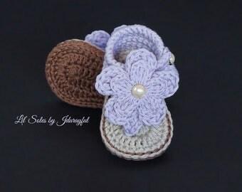 Crochet Baby Shoes, Crochet Baby Booties, Crochet Baby Flip Flops, Crochet Baby Sandals, Baby Girl Shoes, Purple Baby Shoes, Purple / Tan