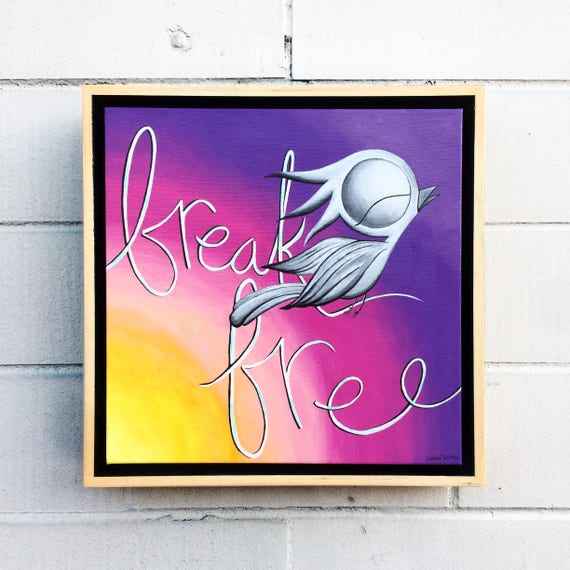 Inspirational Acrylic Painting - Break Free, Dream Bird Art, 12x16, Original Acrylic on Canvas, Framed Wall Art