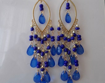 Gold Tone Chandelier Dangle Earrings with Blue and Silver Beads and Blue Teardrop Beads