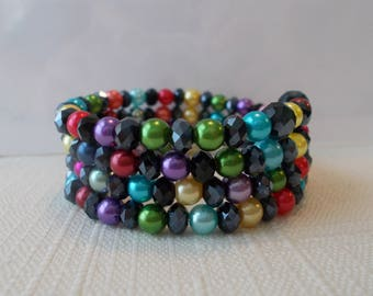 4 Row Memory Wire Cuff Bracelet with Multi Color Sea Shell Pearls and Black Crystal Beads