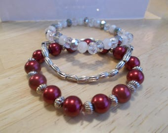 3 Stretch Bangle Bracelets with Clear, White and Silver Crystal Beads and Red Pearls and Silver Tone Beads and Spacers Beads