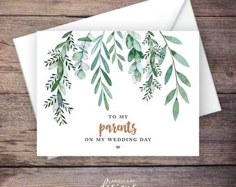 Printable Green Garden To My Parents Wedding Card, Greenery, Instant Download Greeting Card, To My Mom and Dad Wedding Card – Delilah