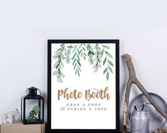 Greenery Photo Booth Sign, Printable, Garden Wedding, Botanical, Wedding Photo, Strike a Pose, Digital File, INSTANT DOWNLOAD –Delilah