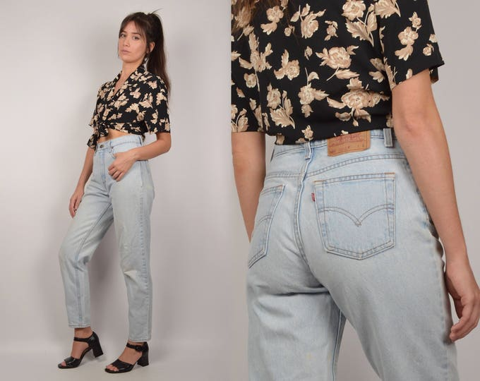 Levi's High Waist Tapered Denim Blue Jeans