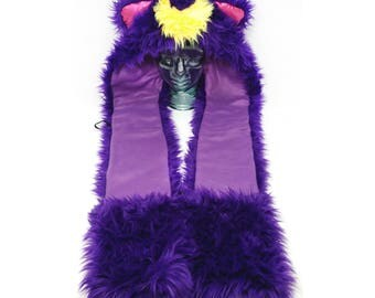 CUSTOM scoodie, rave hood, faux fur animal hood, hat, furry scarf, rave fluffies, cosplay