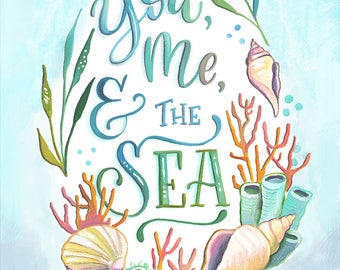You, Me, and the Sea - Makewells Art Print - Ocean Painting