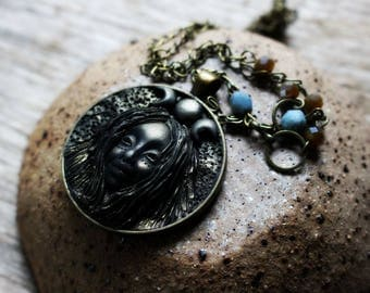 Moon Goddess Necklace. Handcrafted Clay Necklace.