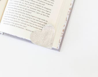 Silver Leather Heart Bookmarks, Page corner
