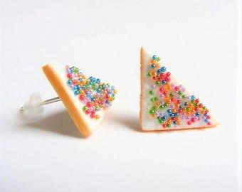Food Jewelry, Fairy Bread Earrings, Miniature Food Earrings, Mini Food, Handmade Earrings Fairy Bread Jewelry Kawaii Earrings Fairy Jewelry