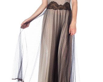 1950s Nylon And Net Negligee Size: S