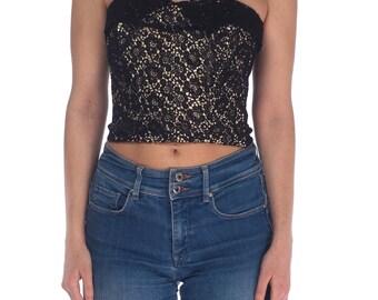 1950s Black Lace Bustier corset Size: S
