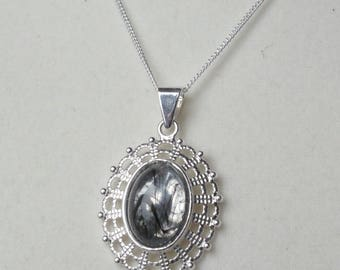 Black & Silver Cabochon in Filigree Pendant on Fine Silver Chain