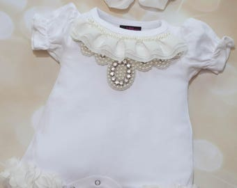 Infant Baby Layette White Cotton Bubble Romper with Chiffon and  Pearl Collar