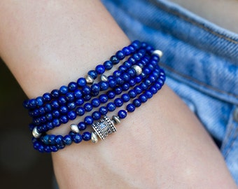 Lapis Lazuli Bracelet, Wrap Bracelet, Beaded Bracelet, Stretch Bracelet, Boho Bracelet, Multi Strand Bracelet, Stack Bracelet, Boho