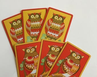 Owl Swap Cards  / 6 Vintage CUTE OWL Playing Cards for Mixed Media, Collage, Journals, Smash Books, etc. New
