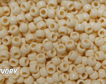 Ivory Opaque 6x9 mm Barrel Pony Beads