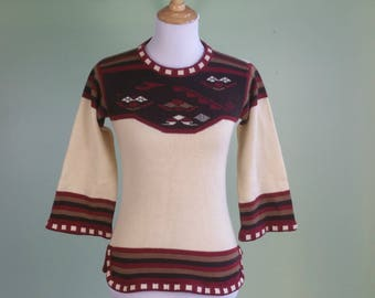 1970s Boho Pullover Sweater - 70s 3/4 Sleeve Space Dye Sweater - XS