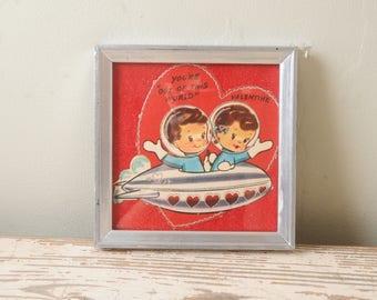 1940s Tiny UFO Valentine's Day Card Framed Silver