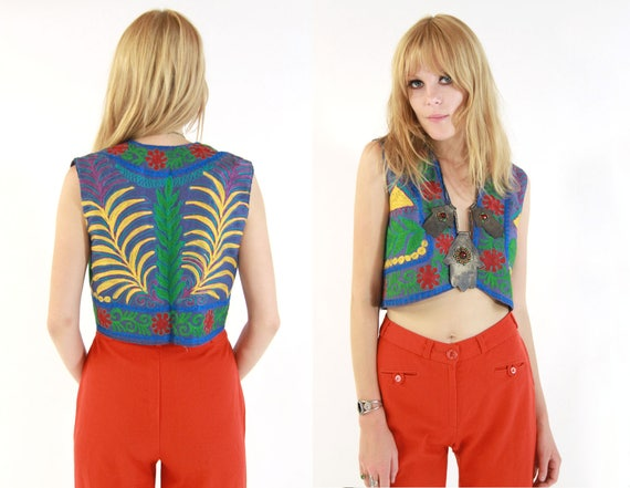 Vtg 70s Embroidered Multicolor Folk Vest S