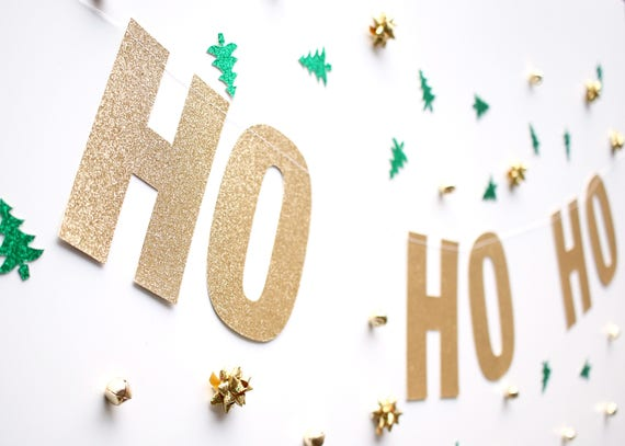 HO HO HO Glitter Banner - Glitter Letters. Holiday Decor. Dorm Decor. Christmas Decorations. Christmas Party Banner. Xmas Decor.
