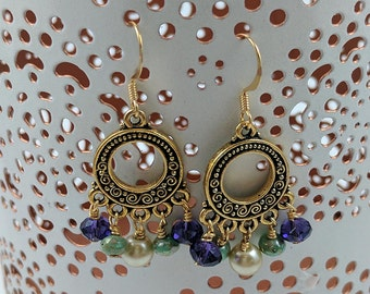 Gold Loop Chandelier Earrings, with Purple, Aqua, and Cream Accents