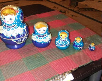 Authentic Russian Matryoshka Nesting Dolls AKA Russian Nesting Dolls....Hallmarked On Bottom