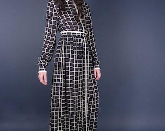 90s Navy Blue Sheer Minimalist Grid Maxi Dress | Long See Thru Runway Dress | Small - Medium