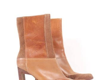 VINTAGE 90s Tan Leather Patchwork Square Toe Booties sz 8 | Steven Madden NWOT Brown Calico Boots