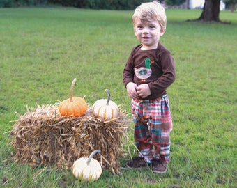 Baby Boy Fall Clothes - Baby Fall Outfit - Patchwork Plaid Pants - Mallard Duck Shirt - Baby Fall Plaid Pants Set - Thanksgiving Clothes