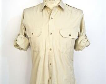 Vintage Safari/Military Epaulets Shirt / 1980s-90s Banana Republic tan khaki beige long sleeve desert summer army shirt / men's medium