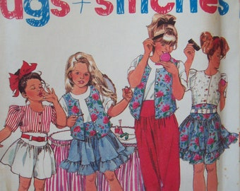Girl's Top, Skirt, Pants, Shorts 1990s Hugs + Stitches Simplicity Pattern 7308 Sizes 7-14 Uncut Factory Fold