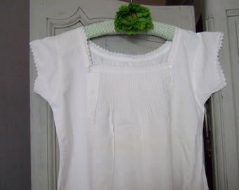 Antique French Fine Linen Nightdress. Handmade. Monogram MG. Maternity Nightwear.