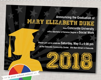 Graduation Invitation in Custom Colors and Silhouette  - Printable Digital File or Printed Invitations with Envelopes - FREE SHIPPING