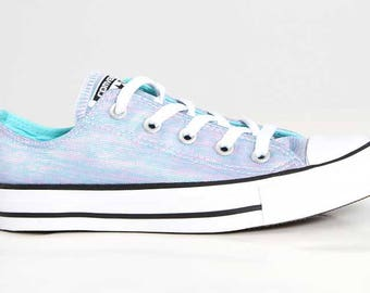 Custom Converse Metallic Lt Aquamarine Blue Low Top Wash Bling w/ Swarovski Crystal Chuck Taylor All Star Girls Wedding Trainer Sneaker Shoe