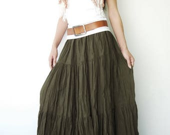 NO.5 Olive Green Cotton, Hippie Gypsy Boho Tiered Long Peasant Skirt