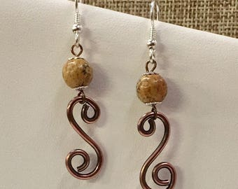 Copper and sterling silver earrings with Jasper beads