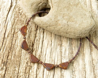 Earthy beaded necklace - rustic brown  & copper beads Picasso Czech glass
