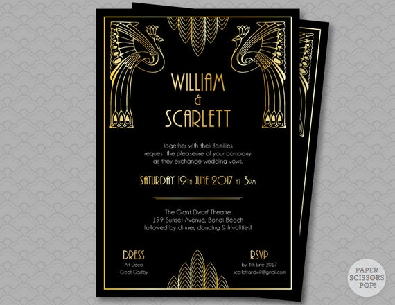 Great Wedding Invites: Great Gatsby Wedding Invitation Roaring 20's Party Art