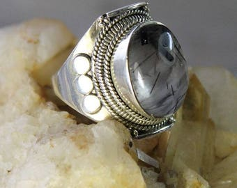 Ethnic Silver 925 with black rutilated quartz cabochon ring