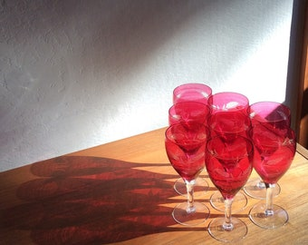 Vintage Ruby Flash Glass Wine Glasses with Etched Wheat Pattern, set of eight (8)