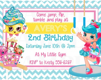 Gymnastics Shopkins Jessicake Inspired Cute Birthday Party Invitation & Tags - Printable File