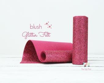 Glitter Felt - BLUSH Glitter Felt  - Wool Felt Glitter - Fine Glitter - Wool Felt