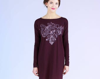 Burgundy Rose - oversize dress