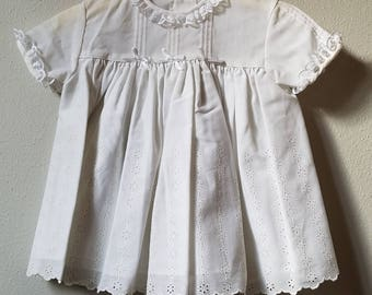 Vintage Girls White Eyelet Lace Dress with Pintucks by C.I. Castro- Size 12-18 months- New, never worn